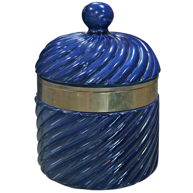 Gold Ice Bucket in Blue Ceramic and Brass by Tommaso Barbi For Sale - Image 8 of 8