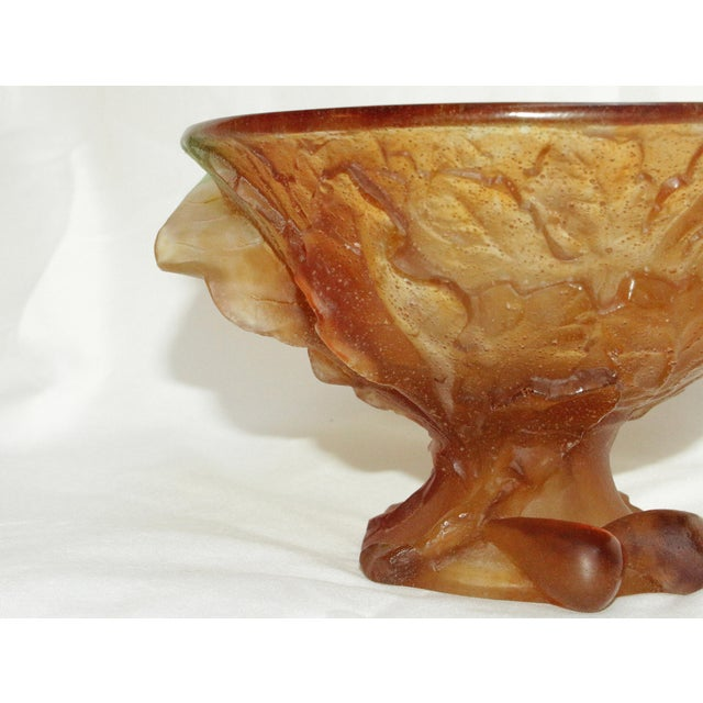 Mid 20th Century Daum Pate De Verre Art Glass Compote of Figs and Leaves For Sale In Raleigh - Image 6 of 10