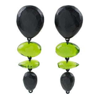 Gerda Lyngaard for Monies Oversized Dangle Clip Earrings Black Olive Green Resin For Sale
