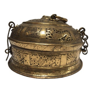 Anglo Indian Large Round Decorative Brass Box With Lid For Sale