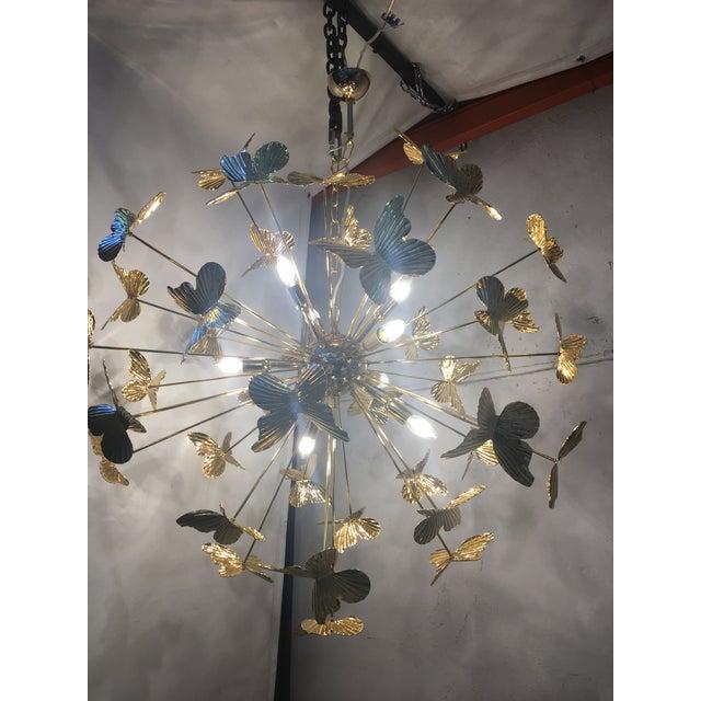 Italian Hand Made Gold 24k Butterfly Sputnik Chandelier For Sale - Image 4 of 13