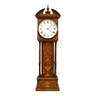 English Victorian Mini Grandfather Desk Clock For Sale