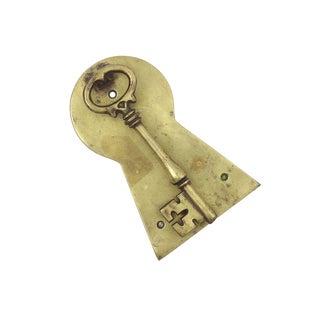 Vintage Brass Skeleton Key Door Knocker For Sale