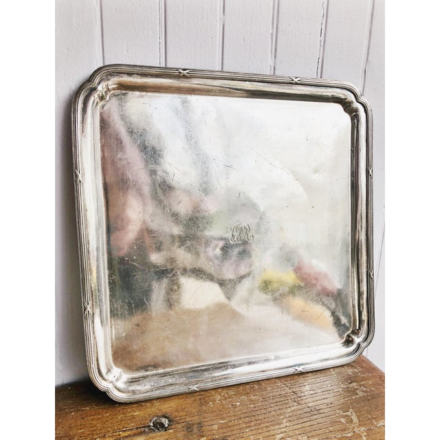 Metal 1910s 1914 Silver Plated Canadian Pacific Railway Serving Tray For Sale - Image 7 of 7