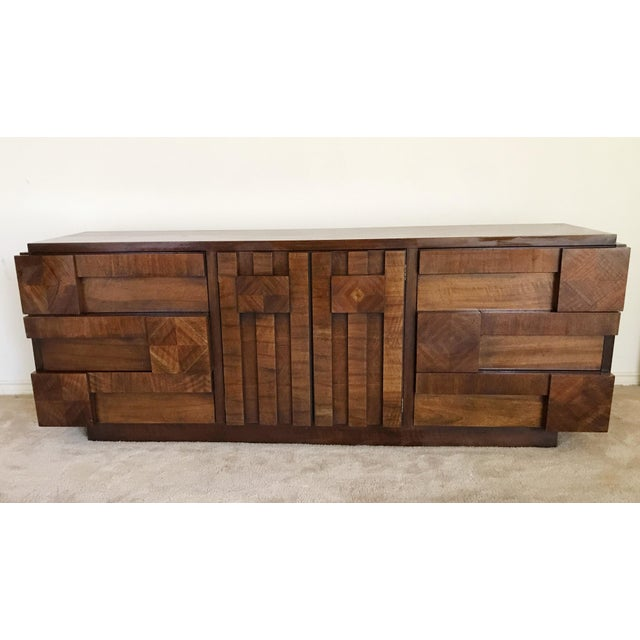 1970s Brutalist Lane 9-Drawer Dresser Credenza For Sale - Image 11 of 11