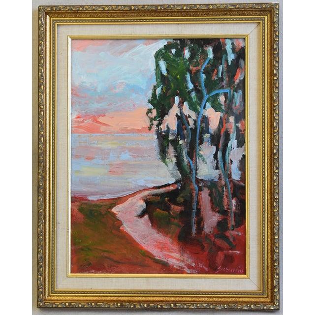 Blue Juan Guzman Plein Air Seascape Landscape Oil Painting For Sale - Image 8 of 9