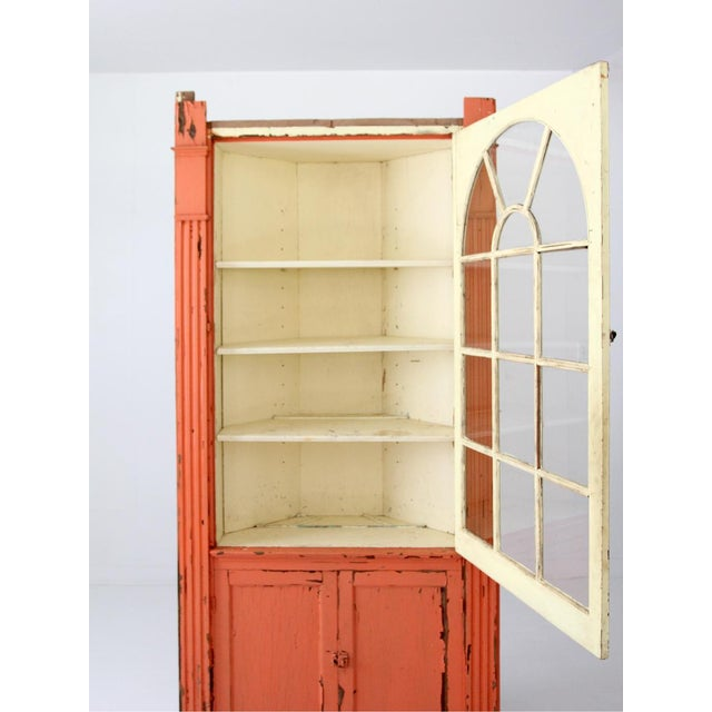 Primitive Antique Corner China Cabinet For Sale - Image 3 of 9