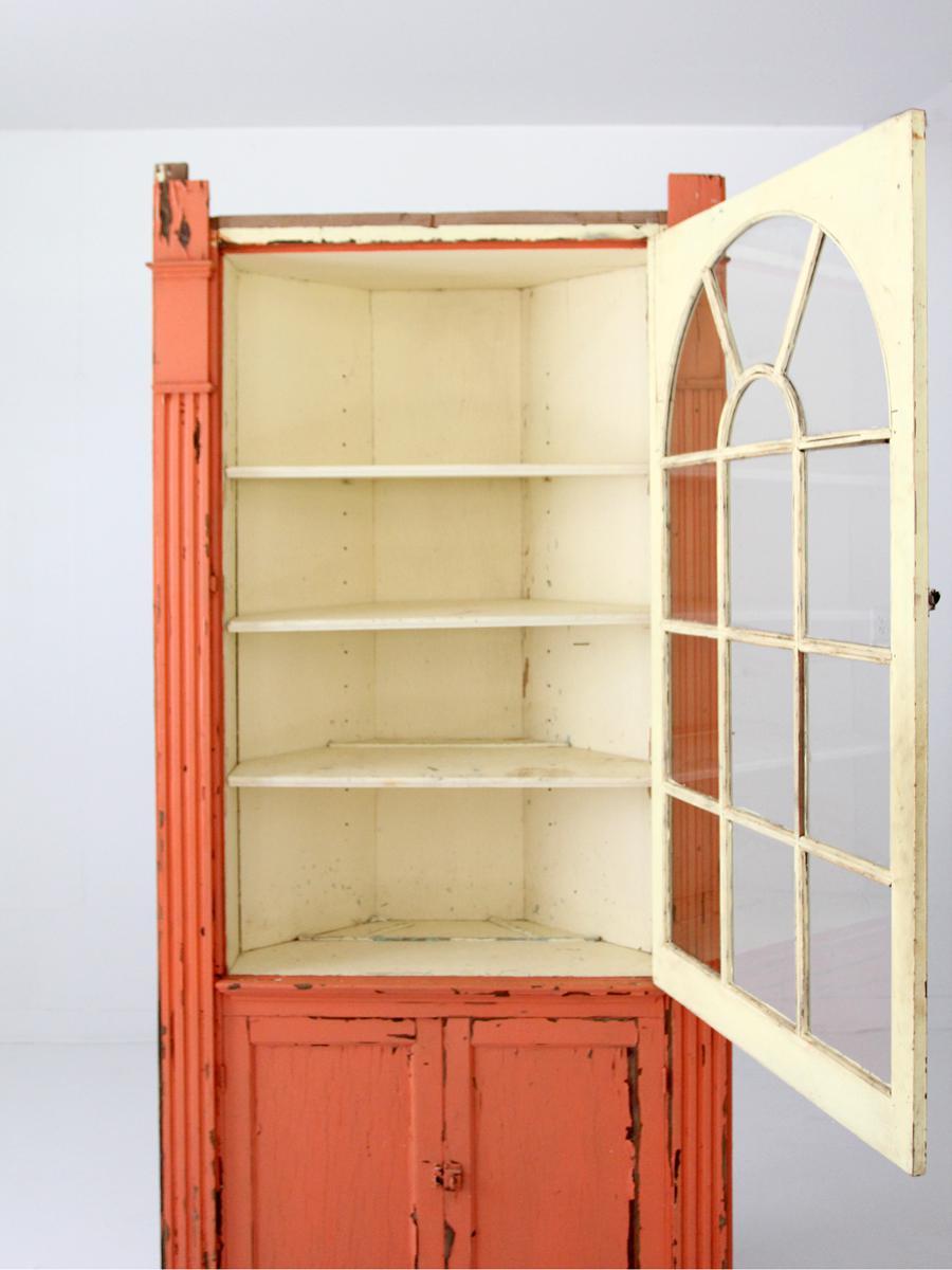 Primitive Antique Corner China Cabinet For Sale   Image 3 Of 9