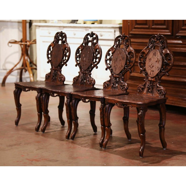 Decorate a wine cellar or dress a game table with this spectacular suite of antique chairs. Crafted in France, circa 1860,...