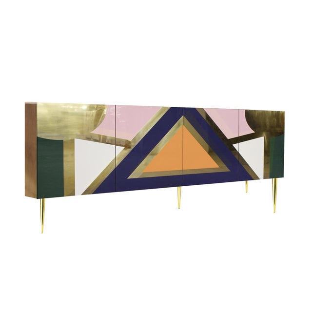 2020s Handmade 'Yucatan' High Gloss Lacquered Wood and Brass Sideboard For Sale - Image 5 of 6