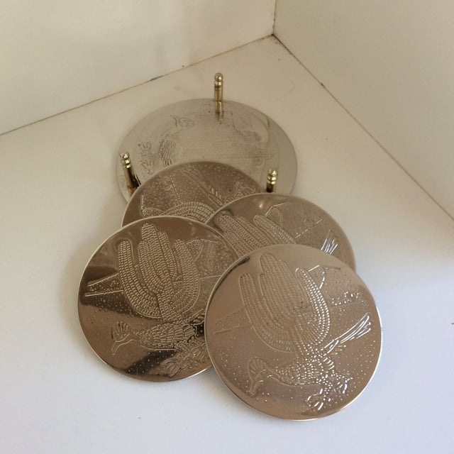 Vintage Southwest Style Silver Plated Roadrunner Drink Coasters in Holder- Set of 6 For Sale - Image 9 of 11