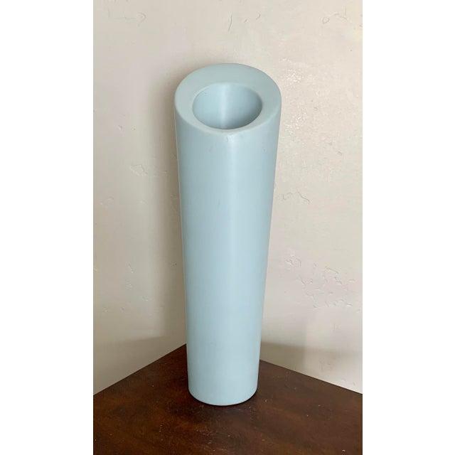 Early 21st Century Modern Minimalist Light Blue Ceramic Vase For Sale - Image 5 of 5