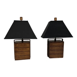 Pair Vintage Asian Rice Basket Lamps