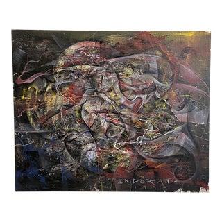 Original Michael Indorato 1999 Signed Large Street Art on Canvas For Sale