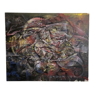 Rare Original Michael Indorato 1999 Signed Large Street Art on Canvas For Sale