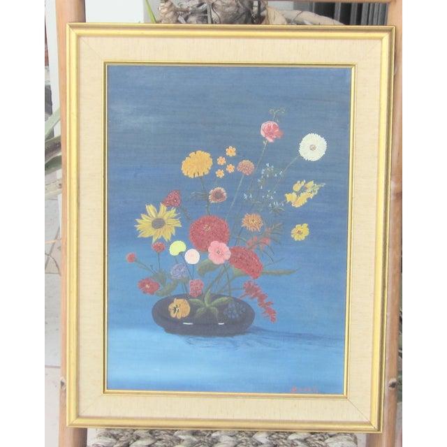 Vintage Signed Primitive Floral Oil Painting For Sale In West Palm - Image 6 of 6