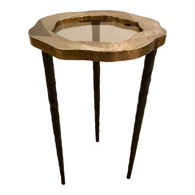 Modern Barry Dixon for Arteriors Metal Foil and Smoked Glass Drinks Table For Sale