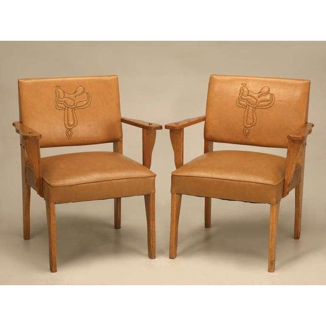 "Magnificent Original ""Ranch Oak"" Cowboy Arm Chairs W/Saddle Decoration - a pair For Sale - Image 10 of 10"