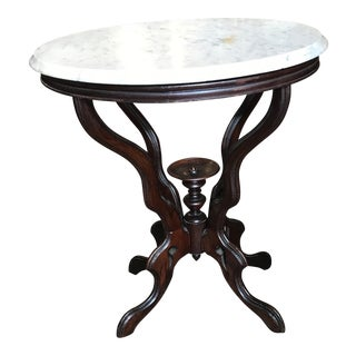 19th Century Victorian Marble Top Side Table For Sale