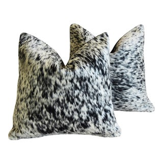"Black & White Freckled/Speckled Cowhide Down/Feather Pillows 19"" - a Pair"