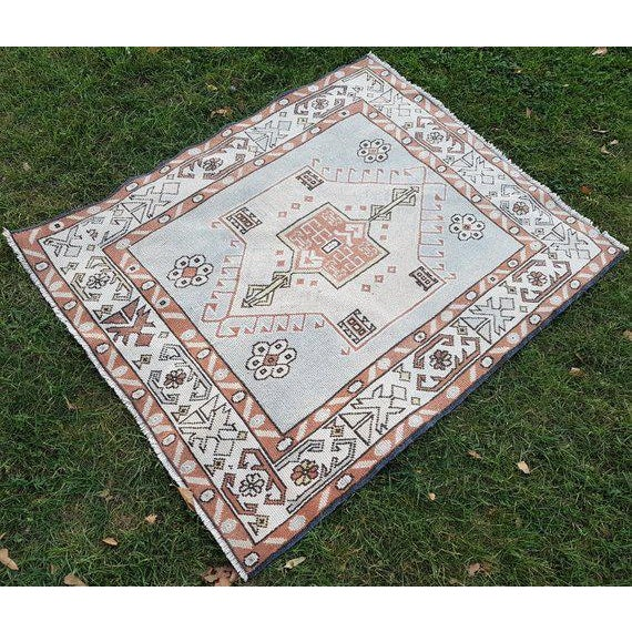 1970s Vintage Petite Turkish Rug - 3′1″ × 3′9″ For Sale In Dallas - Image 6 of 8