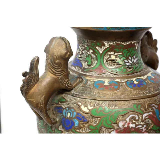 1950s Vintage Bronze Champleve Urns With Foo Dog Handles - a Pair For Sale - Image 5 of 11