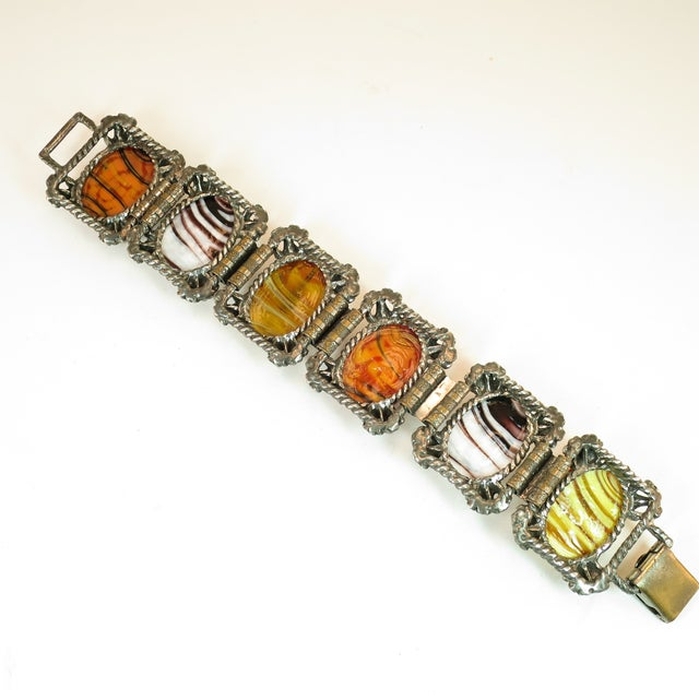 Mid-Century Selro Agate Art Glass Florentine Link Bracelet, 1950s For Sale - Image 9 of 13