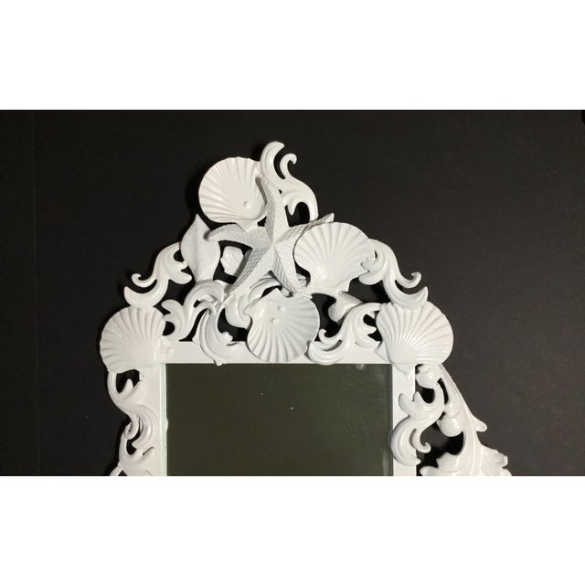 White Iron Sea Shell Mirror For Sale - Image 9 of 12