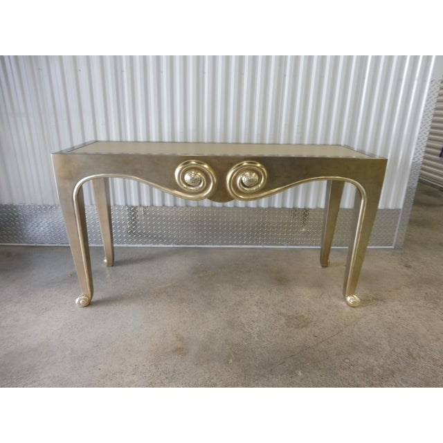J. Robert Scott Sally Sirkin Lewis Silver Leaf Console Table For Sale - Image 11 of 11