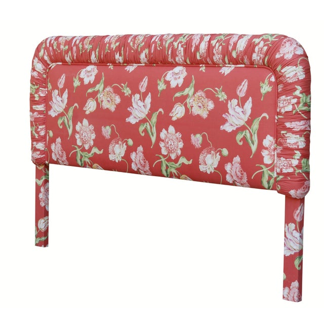 Cheerful chintz king headboard in classic Brunschwig & Fils Glazed Tulipa fabric. Vintage rouched detail.