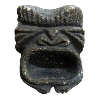 Vintage 1970s Stone Tiki Ashtray For Sale