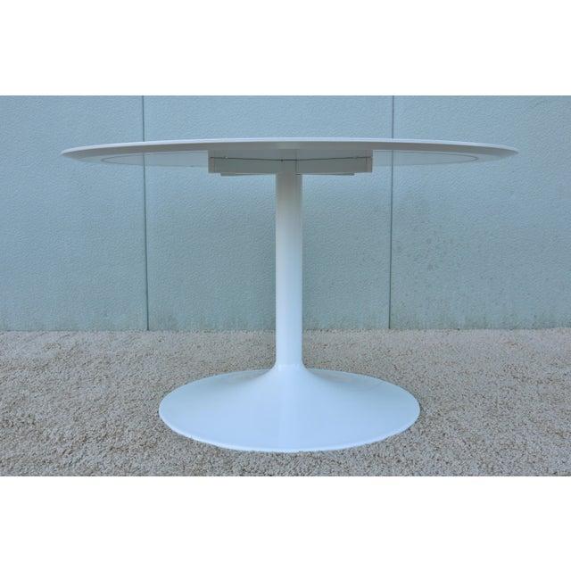 """1950s Mid-Century Modern Eero Saarinen Style 48"""" Round White Top Tulip Dining Table - Image 4 of 13"""