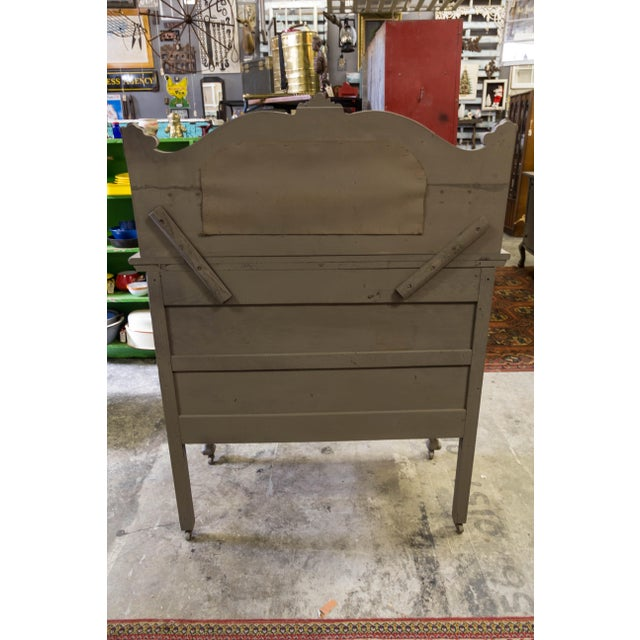 Vintage Gray Sideboard Cabinet With Mirror For Sale In Tampa - Image 6 of 9