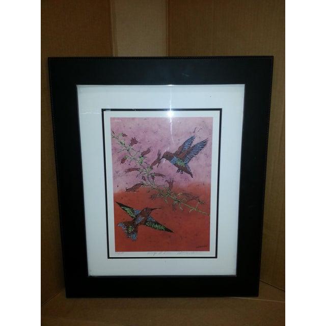 """Red Marilyn Salomon """"Wings at Dawn"""" Original Batik Print For Sale - Image 8 of 8"""