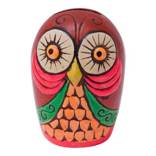 Mid-Century Japanese Paper Mache Owl Bank For Sale