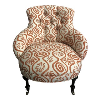 1940s Boho Chic Peter Fasano Fabric Upholstered Corner Chair For Sale