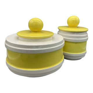Vintage California Pottery Yellow & White Kitchen Canisters - a Pair For Sale