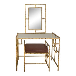 Hollywood Regency Faux Bamboo Gilt Metal Vanity Set - 3 Pieces For Sale