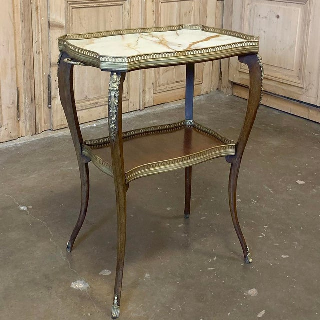 French 19th Century French Louis XVI Marble Top End Table For Sale - Image 3 of 13