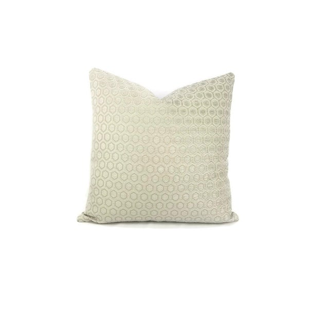 From Jim Thompson is Intara in the color Seafoam pillow cover. A light sage color chenille infused in a honeycomb hex...