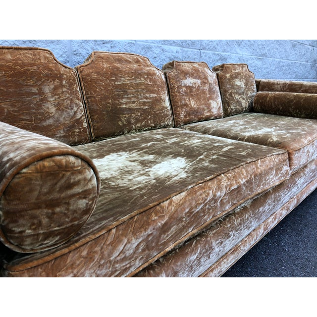 Textile Mid Century Gold Crushed Velvet Rolling Sofa For Sale - Image 7 of 11
