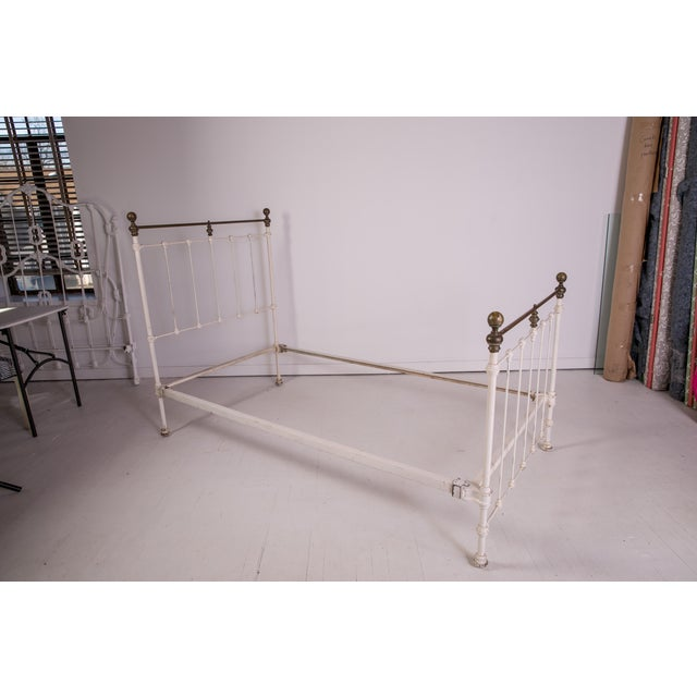 1910s Shabby Chic White Iron Victorian Bedframe For Sale - Image 12 of 12