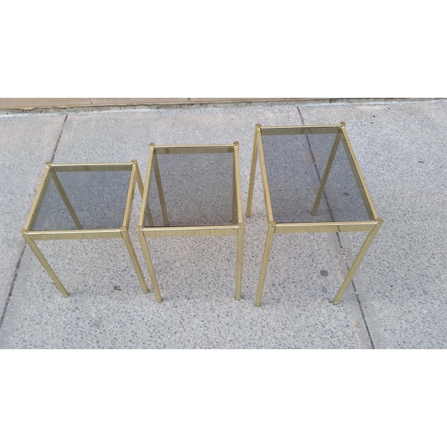 Hollywood Regency Brass & Smoke Glass Nesting Tables - Set of 3 - Image 4 of 9
