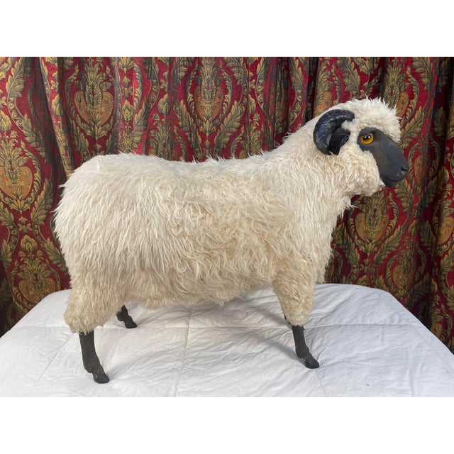 Mid-Century Modern Life Size Vintage Sheep Ottoman in the Style of Lalanne For Sale - Image 3 of 11