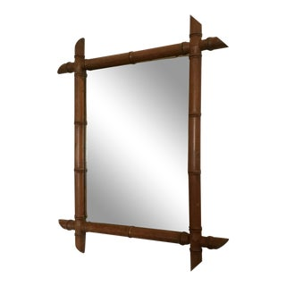 20th Century French Bamboo Wall Mirror For Sale