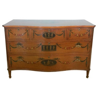 English Painted Satinwood Commode For Sale