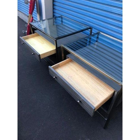 Michael Weiss Grey and Glass Nightstands - a Pair For Sale - Image 5 of 11