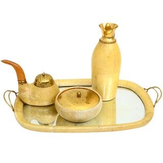 Aldo Tura Macabo Parchment Tea Tobacco Set For Sale
