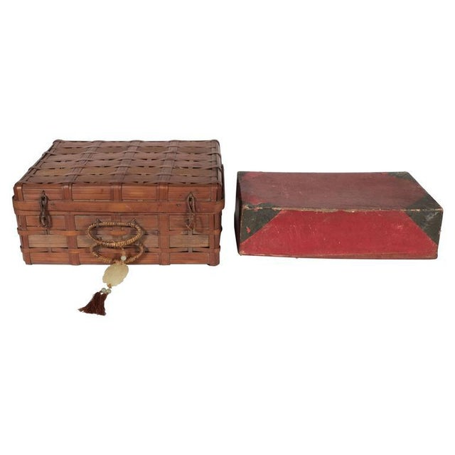 Two Korean Antique Dowery Boxes in Brown Rattan and Red Papier-Mâché For Sale - Image 11 of 11