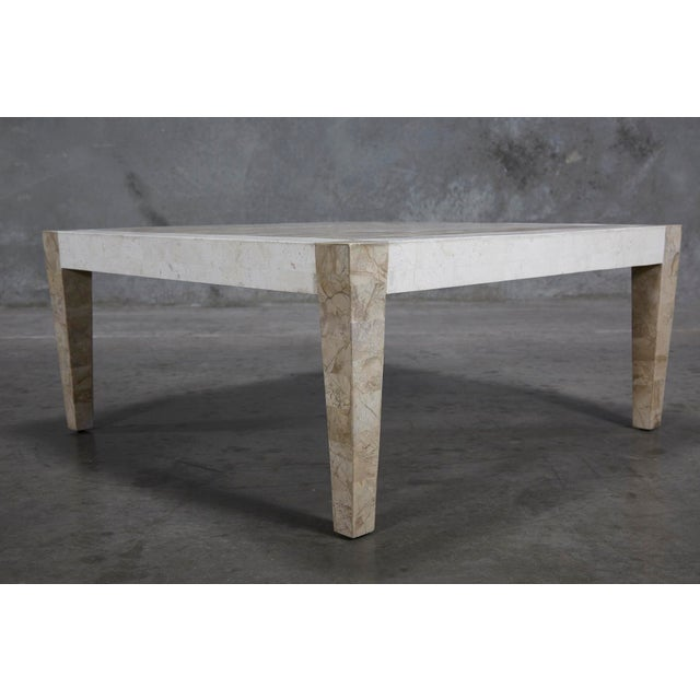 1990s Postmodern Dual Color Tessellated Stone Cube Square Coffee Table For Sale - Image 10 of 13